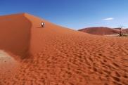 Gorący piach parzy stopy, wspinać na wydmy da się tylko rano, nawet kryte buty nie całkiem izolują od nagrzanego piachu...